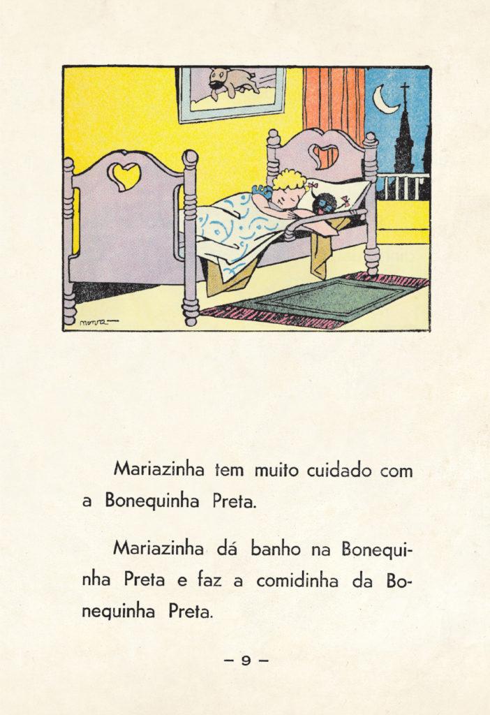 Página do livro clássico, com Mariazinha dormindo com a Bonequinha Preta.