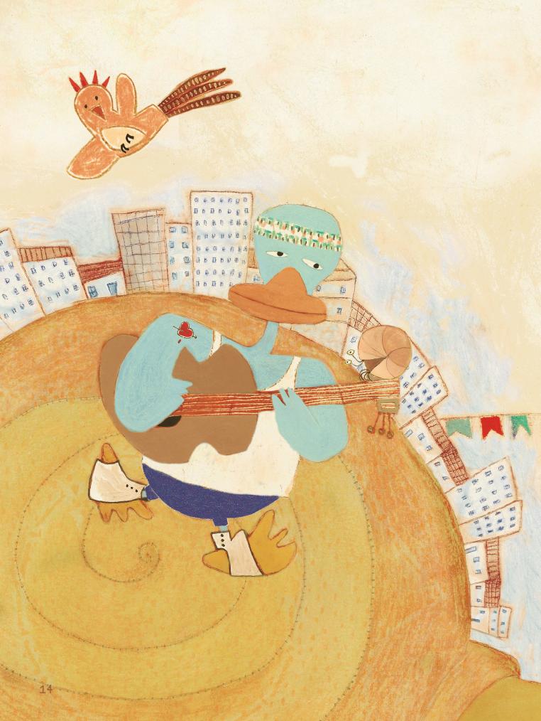Pato tocando violão. Imagem do livro Gato, sapato, bicho do mato.