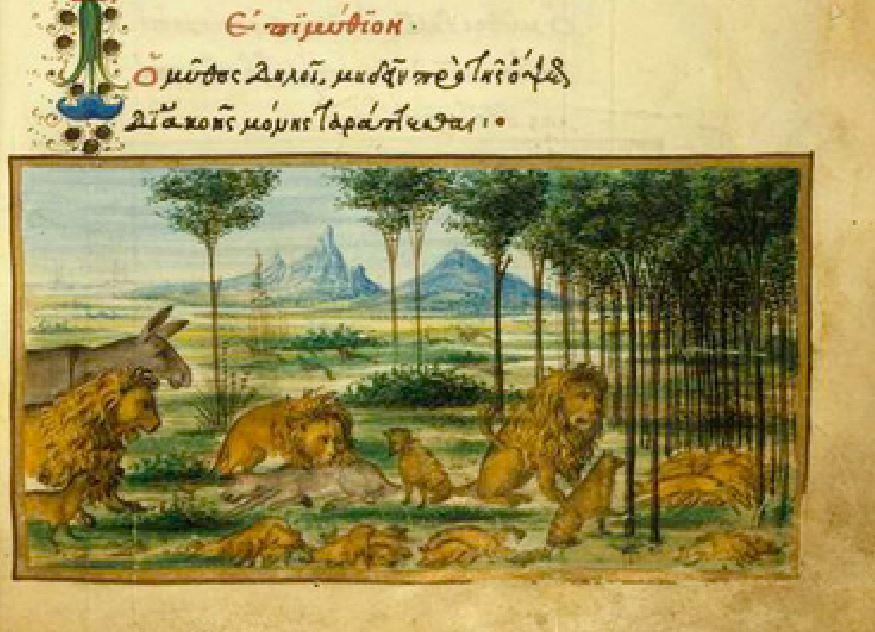 Gravura de fábula. Imagem ilustrativa texto história das fábulas.