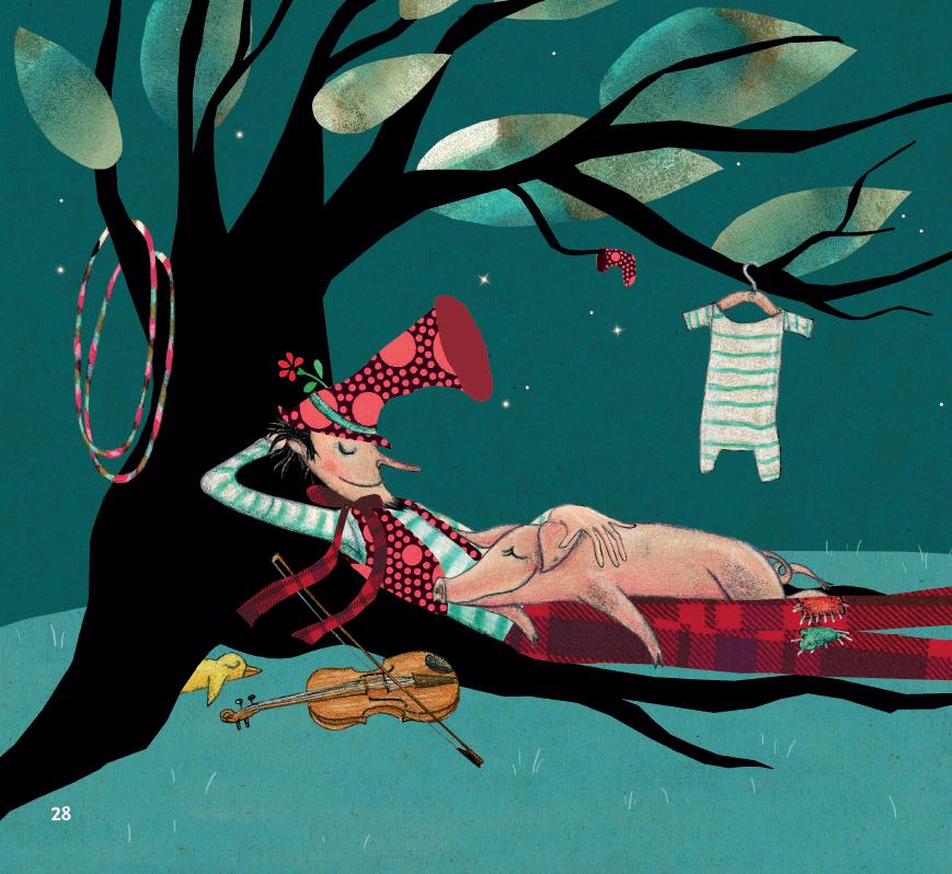 Porquinha e homem dormindo. Página do livro A grande viagem de Rosita. Imagem ilustrativa texto páscoa.