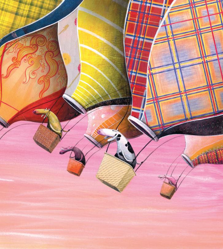 Vacas nos balões. Página do livro Margarida. Imagem ilustrativa texto páscoa.