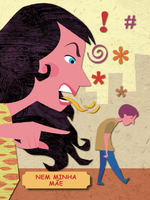 Mãe brigando com menino. O homão e o menininho, página 10. Imagem ilustrativa texto sinais de abuso infantil.