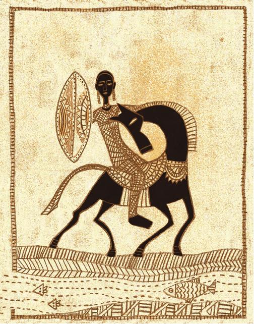 Homem montado no cavalo com escudo. Imagem ilustrativa texto contos africanos.