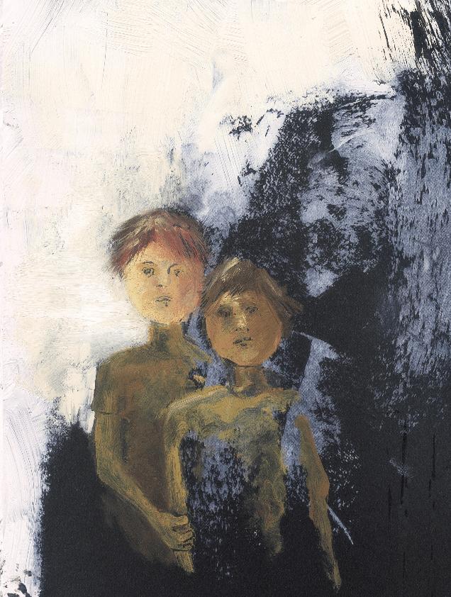 Pintura de dois meninos. Página 9 do livro Duas casas.