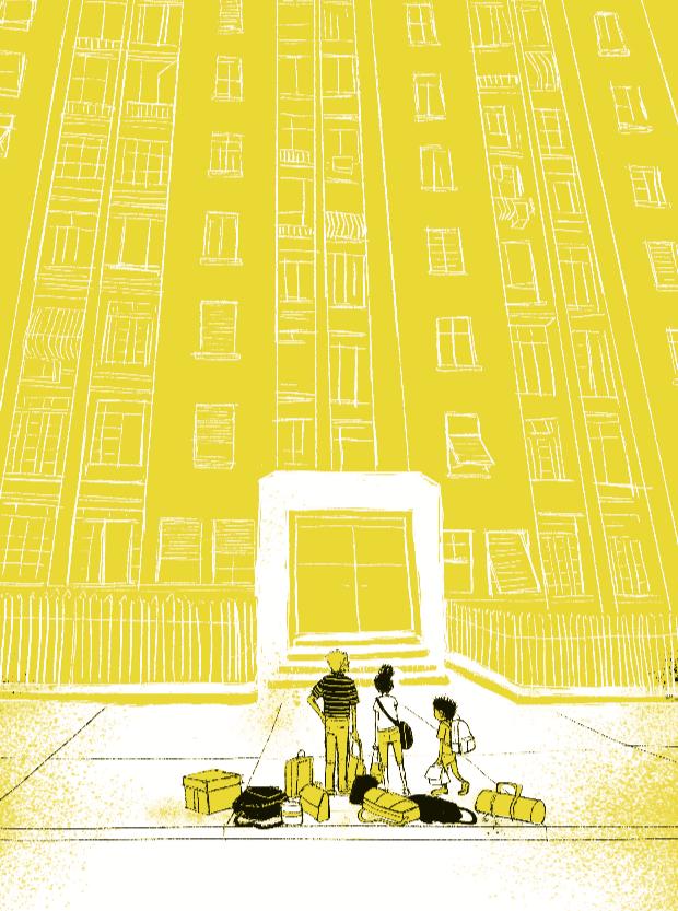 Família em frente a prédio, com malas no chão. Página 16 do livro Metade pai, metade mundo.
