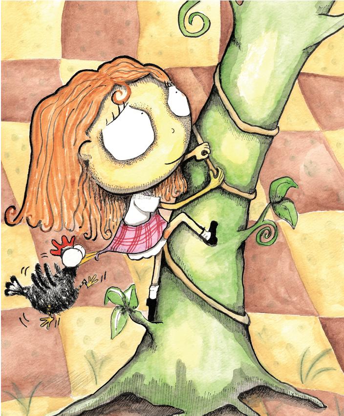 Menina subindo na árvore, com galinha puxando o vestido e o chão xadrez. Página 11 do livro Joana e o pé de feijão. Imagem ilustrativa do texto livro de imagem.