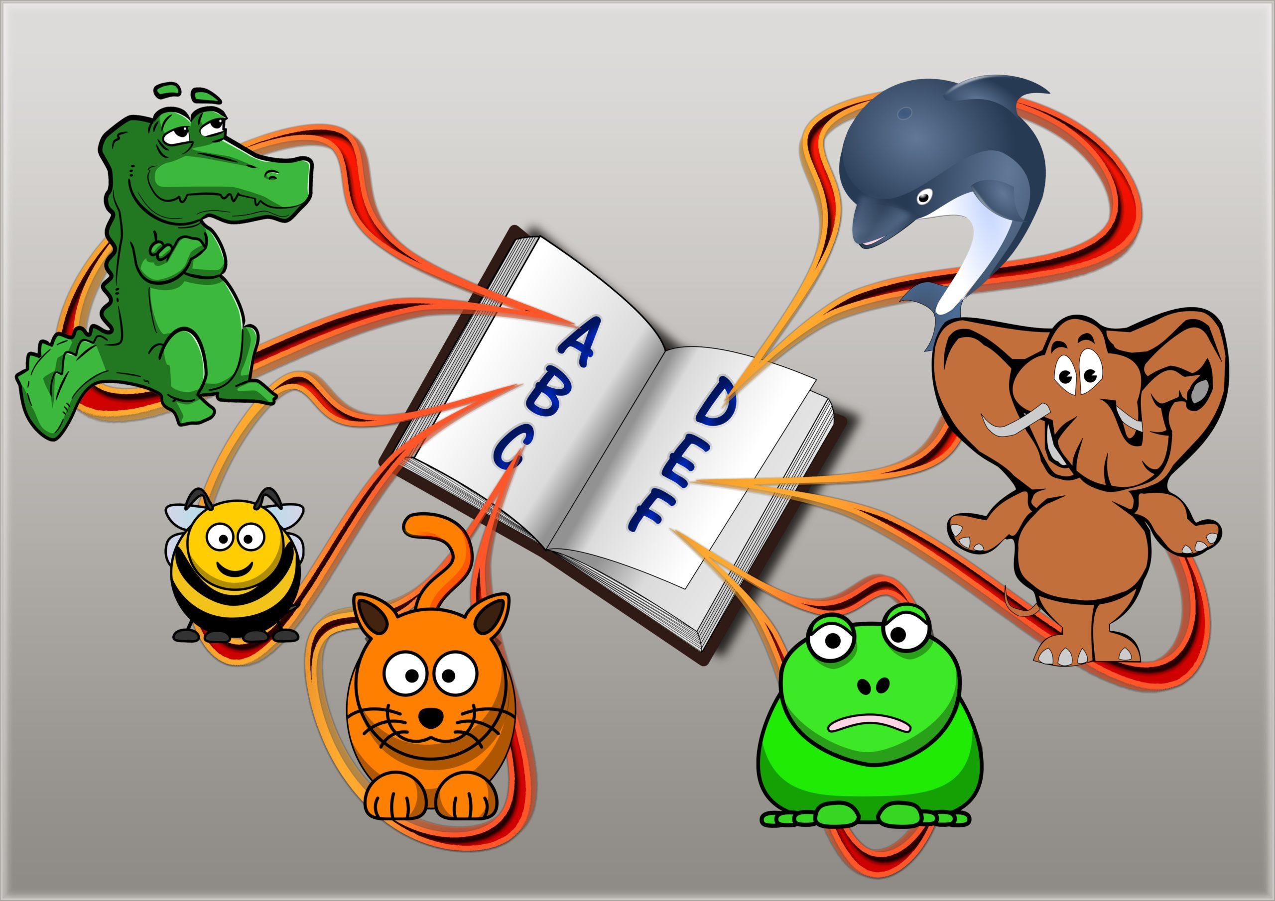 Jacaré, abelha, gato, sapo, elefante, golfinho e livro. Imagem ilustrativa texto crianças e animais.