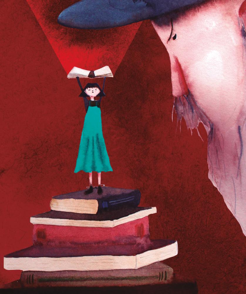 Menina sobre os livros, com adulto olhando. imagem ilustrativa texto Ela nasceu Clarice.