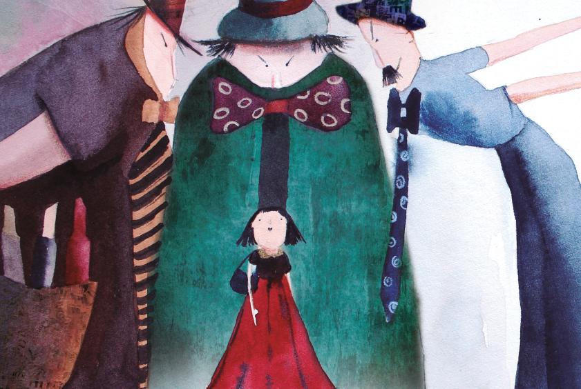 Menina no meio de homens adultos. Imagem ilustrativa texto Ela nasceu Clarice.