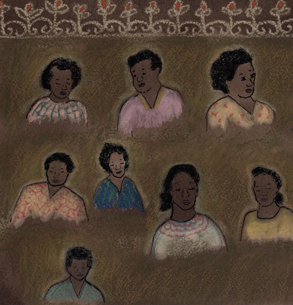 Várias pessoas. Página 24 do livro Honorina. Imagem ilustrativa texto Clube de Leitura ODS.