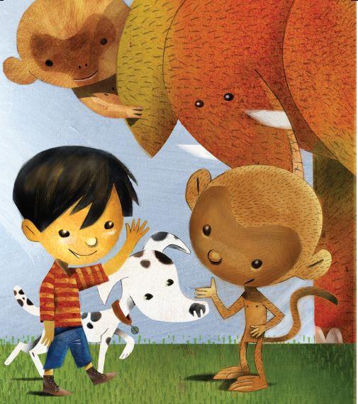 Criança com cachorro, elefante, macaco e coala, Página 9 de O livro do pé. Imagem ilustrativa texto meio ambiente.