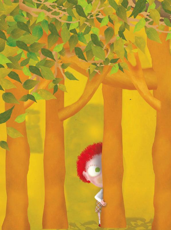Menina de cabelos vermelhos se escondendo atrás da árvore. O gato da árvore dos desejos, página 44. Imagem ilustrativa texto sinais de abuso infantil.