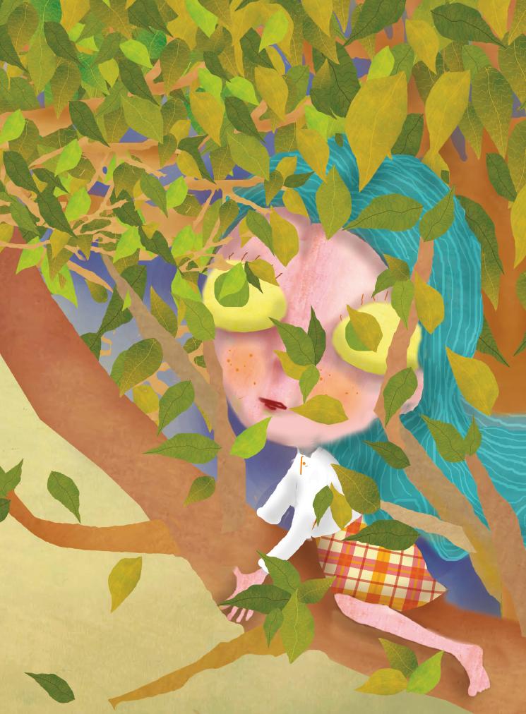 Menina na árvore. Página 19 do livro O gato da árvore dos desejos.