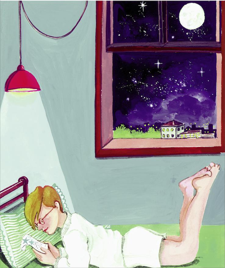 Menino deitado na cama, lendo anotações. Página 25 do livro Pesquisando o universo. Imagem ilustrativa texto interesse pela ciência.