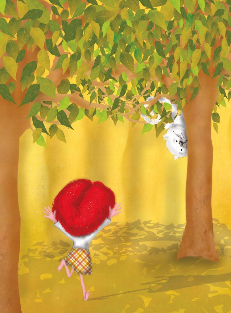 Menina correndo e gato na árvore. Página 54 do livro O gato da árvore dos desejos.