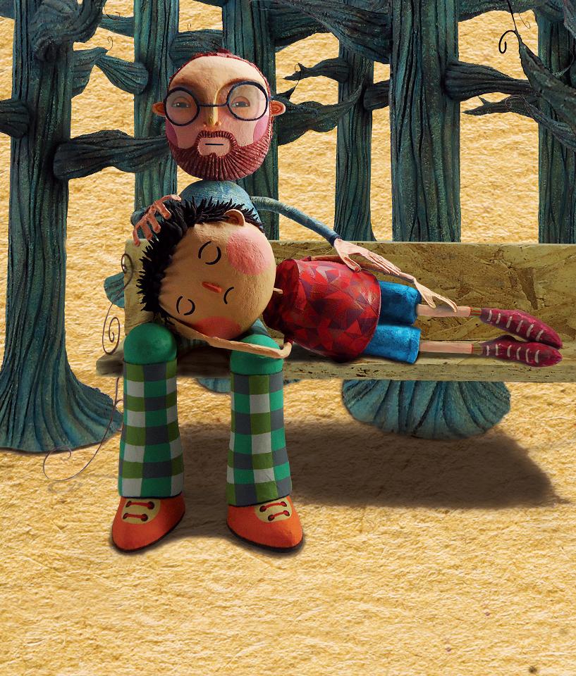 Menino deitado no colo do pai em banco de praça. De filho para pai, página 22. Imagem ilustrativa texto masculinidade tóxica.