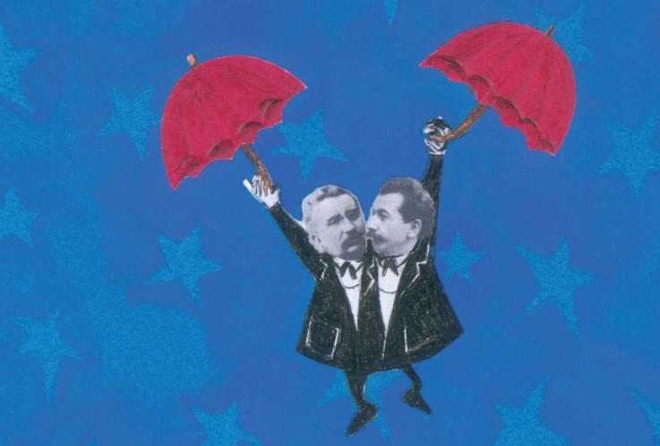 Irmãos Lumière em guarda chuvas. 3ª capa do livro E a luz se fez... Imagem ilustrativa texto amizade.
