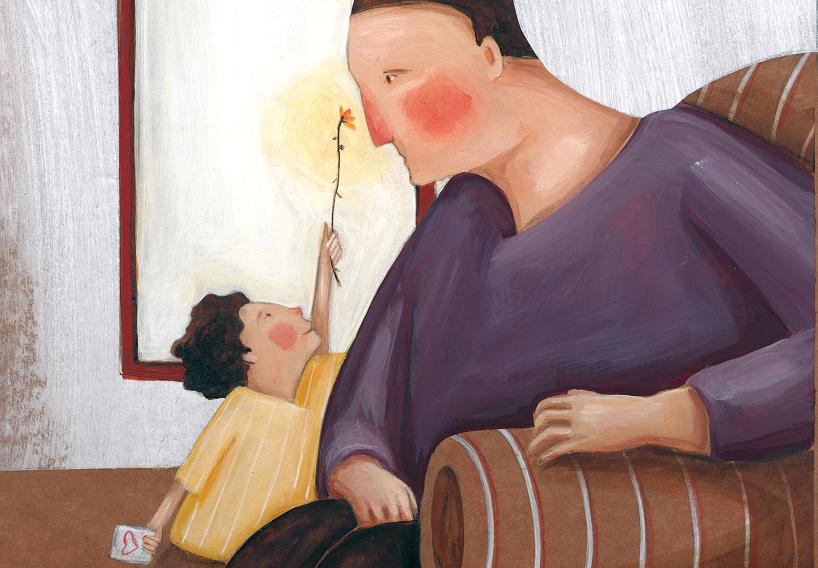 Menino dando flor para o pai sentado no sofá. O menino e a flor, página 25. Imagem ilustrativa texto masculinidade tóxica.