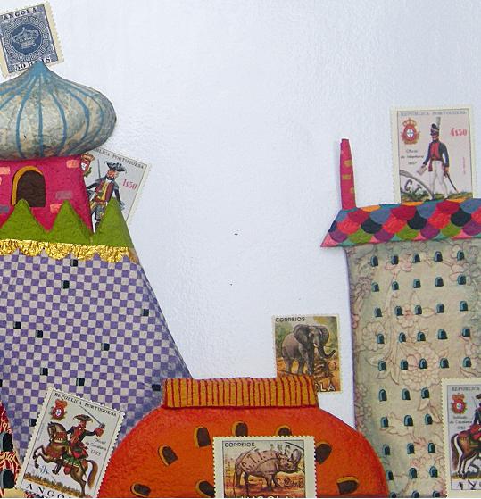 Castelos e selos postais da Angola. Página 7 do livro Minha princesa africana. Imagem ilustrativa texto união entre povos.
