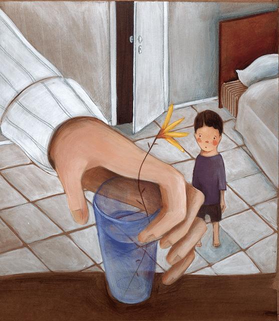 Mão pegando copo com flor e menino olhando. O menino e a flor, página 9.