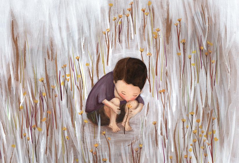 Menino sentado no meio das flores. Página 7 do livro O menino e a flor. Imagem ilustrativa texto significados das flores.