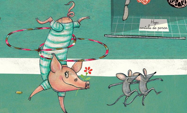 Porquinha plantando bananeira com bambolê e ratos dançando. Ao fundo, açougue vende costela de porco. Imagem ilustrativa texto incentivar a prática de esportes.