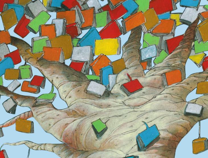 Árvore de livros. Imagem ilustrativa texto FLI BH.