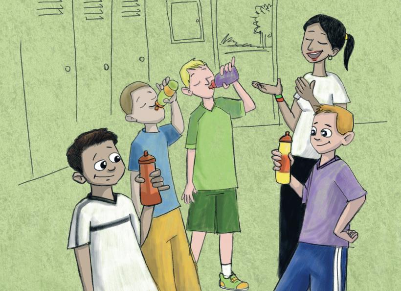 Professora de educação física com alunos tomando água. Página 19 do livro Cabeça fria é que faz gol. Imagem ilustrativa texto incentivar a prática de esportes.