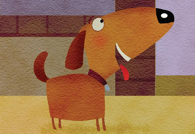 Cachorro olhando de lado. Imagem ilustrativa texto Cadê meu dono?