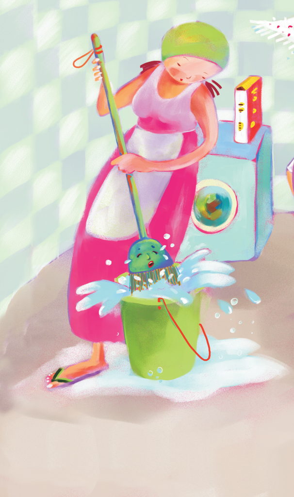 Mulher colocando a vassoura no balde com detergente. Página 10 do livro Dona vassoura. Imagem ilustrativa texto Guiomar de Paiva Brandão.