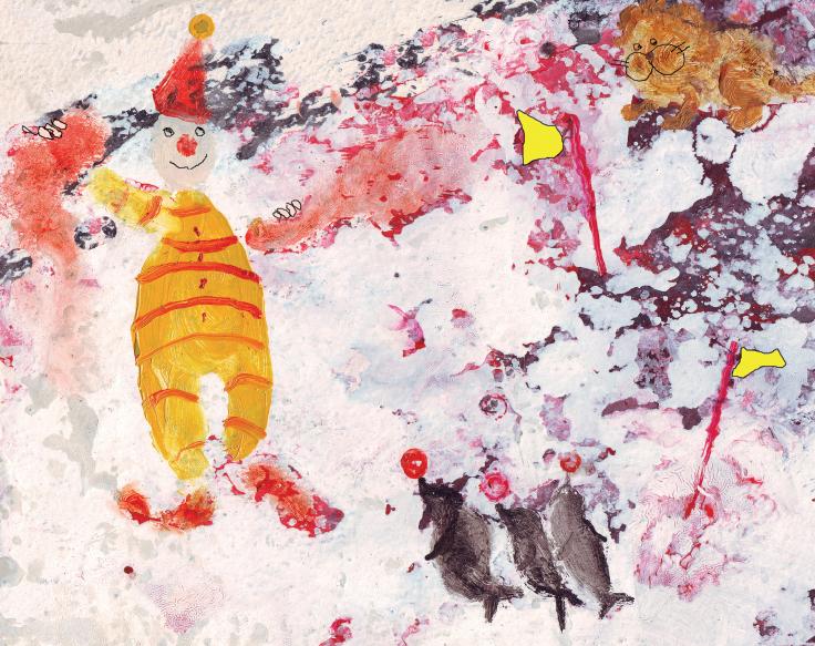 Palhaço e focas. página 11 do livro Fardo de carinho. Imagem ilustrativa texto Roseana Murray.