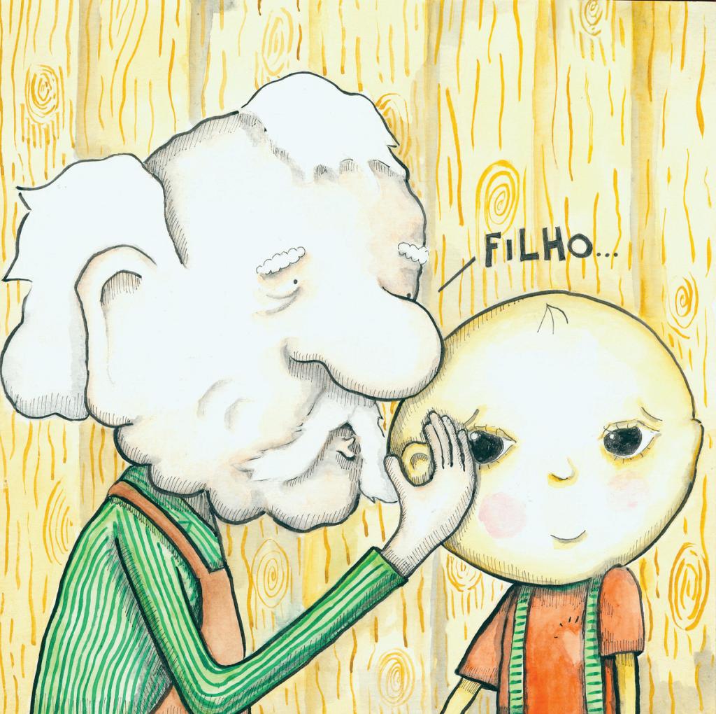 """Homem velho e menino, com o dizer """"filho"""". Página 30 do livro Finóquio imagem ilustrativa texto pais."""