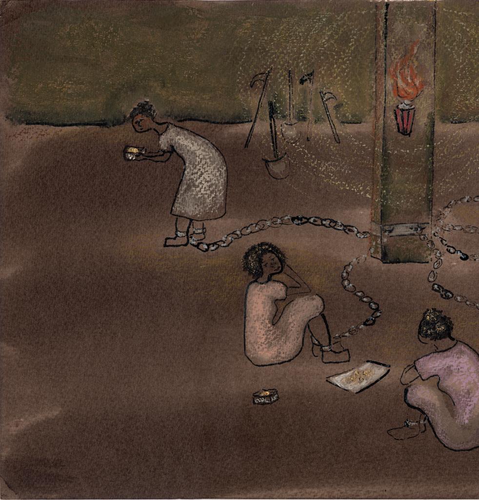 Escravas acorrentadas. Página 22 do livro Honorina. Imagem ilustrativa texto fatos históricos e ficção.