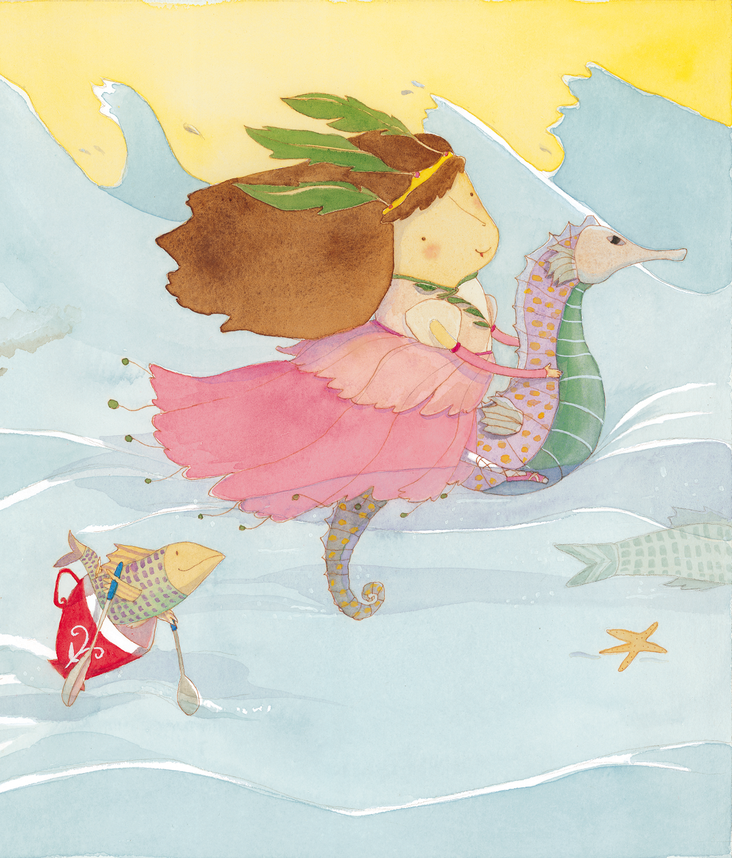 Menina vestida de princesa montada em um cavalo marinho e peixe em uma xícara com remos. Página 11 do livro Kira. Imagem ilustrativa texto Roseana Murray.