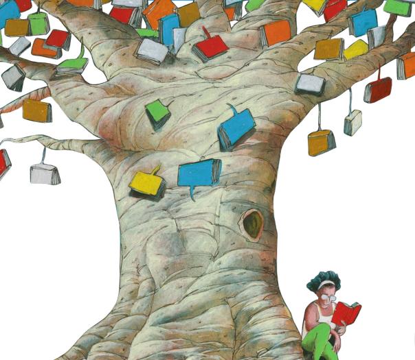 Mulher lendo ao pé da árvore de livros. Imagem ilustrativa texto FLI BH.