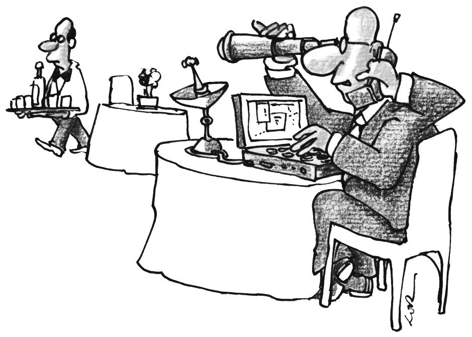 Homem sentado à mesa com mala aberta, olhando garçom pela luneta. Manual de sobrevivência em recepções e coquetéis com bufê escasso, página 35. Imagem ilustrativa texto cartum.