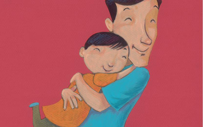 Menino abraçando pai. Página 25 do livro O pai que lia pensamentos. Imagem ilustrativa texto pais.