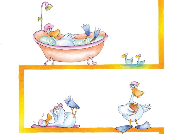 Pato na banheira, fazendo exercícios e lendo. Página 38 do livro Oreosvaldo, o Pássaro das Sombras. Imagem ilustrativa texto cartum.