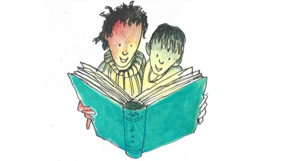 Pai e filho lendo. Imagem ilustrativa texto FLI BH.