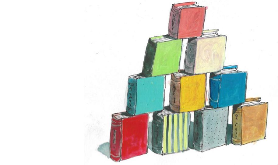 Pirâmide de livros. Imagem ilustrativa texto FLI BH.