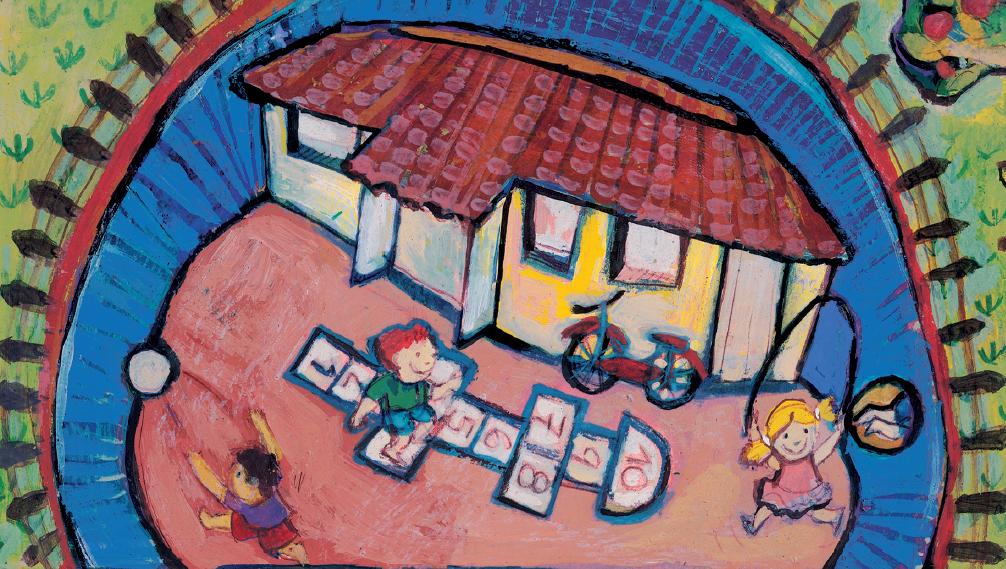 Crianças brincando de bola, amarelinha, bicicleta e pular corda. Página 20 do livro Sai da toca, amigo!. Imagem ilustrativa texto incentivar a prática de esportes.
