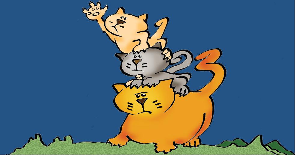 Três gatos, um em cima do outro. Página 8 do livro A lua cheia de... Imagem ilustrativa texto animal de estimação.
