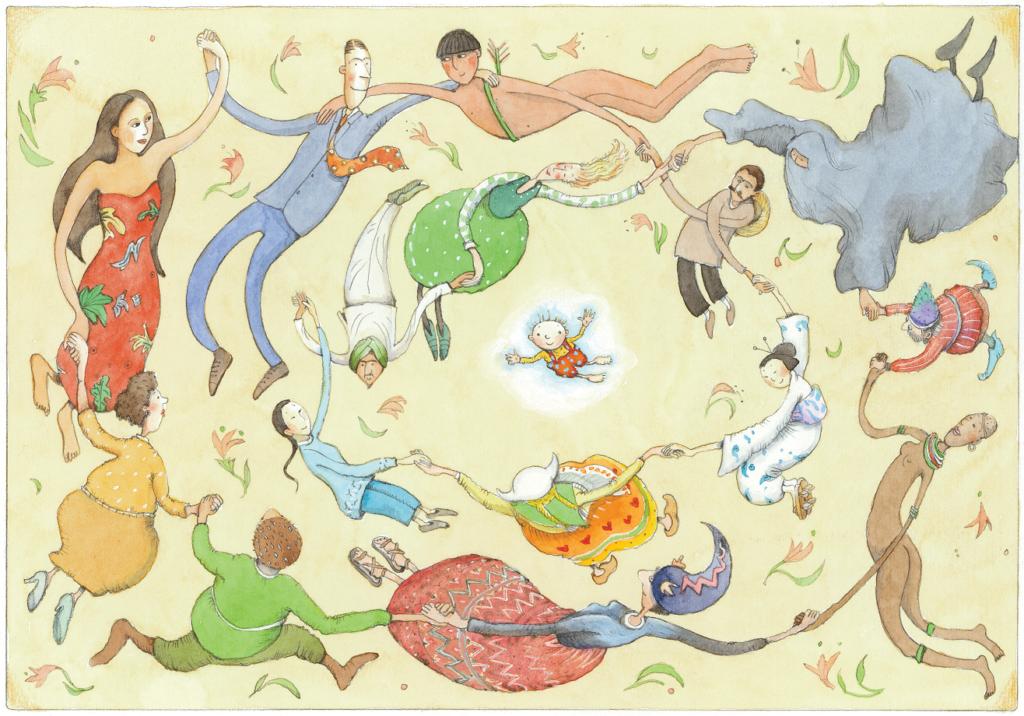 Vários povos, de diversas épocas, dando as mãos. A criança e seus direitos, páginas 23 e 24. Imagem ilustrativa texto fatos históricos e ficção.
