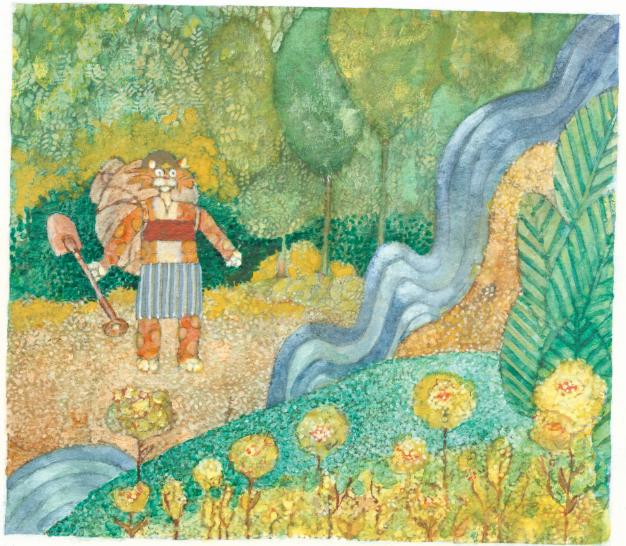 Gato com pá na floresta. Páginas 10 e 11 do livro Alonça & Juca Brito. Imagem ilustrativa texto árvore.