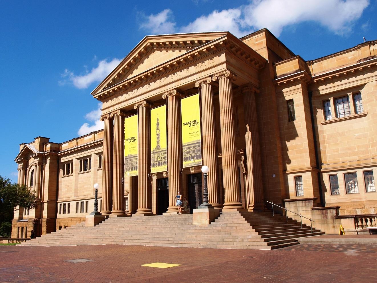 Exterior da Biblioteca Estadual de Nova Gales do Sul.