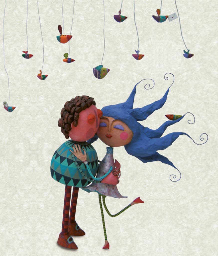 Homem beijando mulher, com passarinhos voando. Página 25 do livro Minha princesa africana. Imagem ilustrativa texto papel machê.