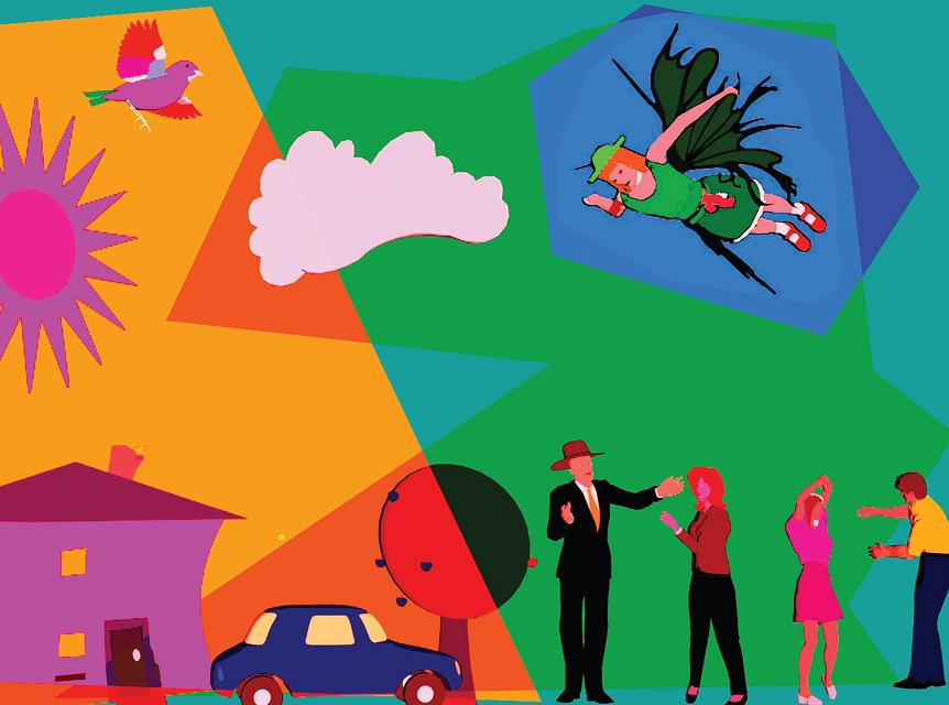 Pessoa com asas voando, carro e outras pessoas no chão. O que você vai ser quando morrer?, página 7. Imagem ilustrativa texto morte.