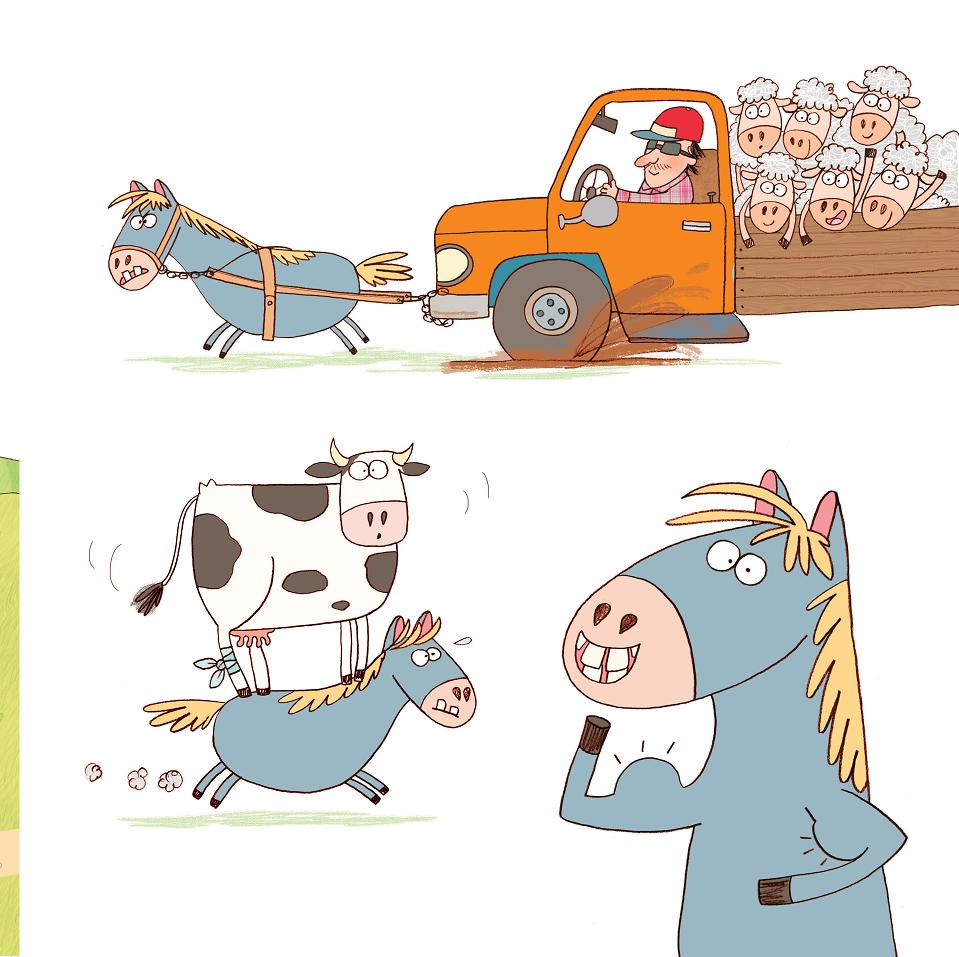 Cavalo puxando caminhão, levando vaca e mostrando força. Página 7 do livro Pocotó
