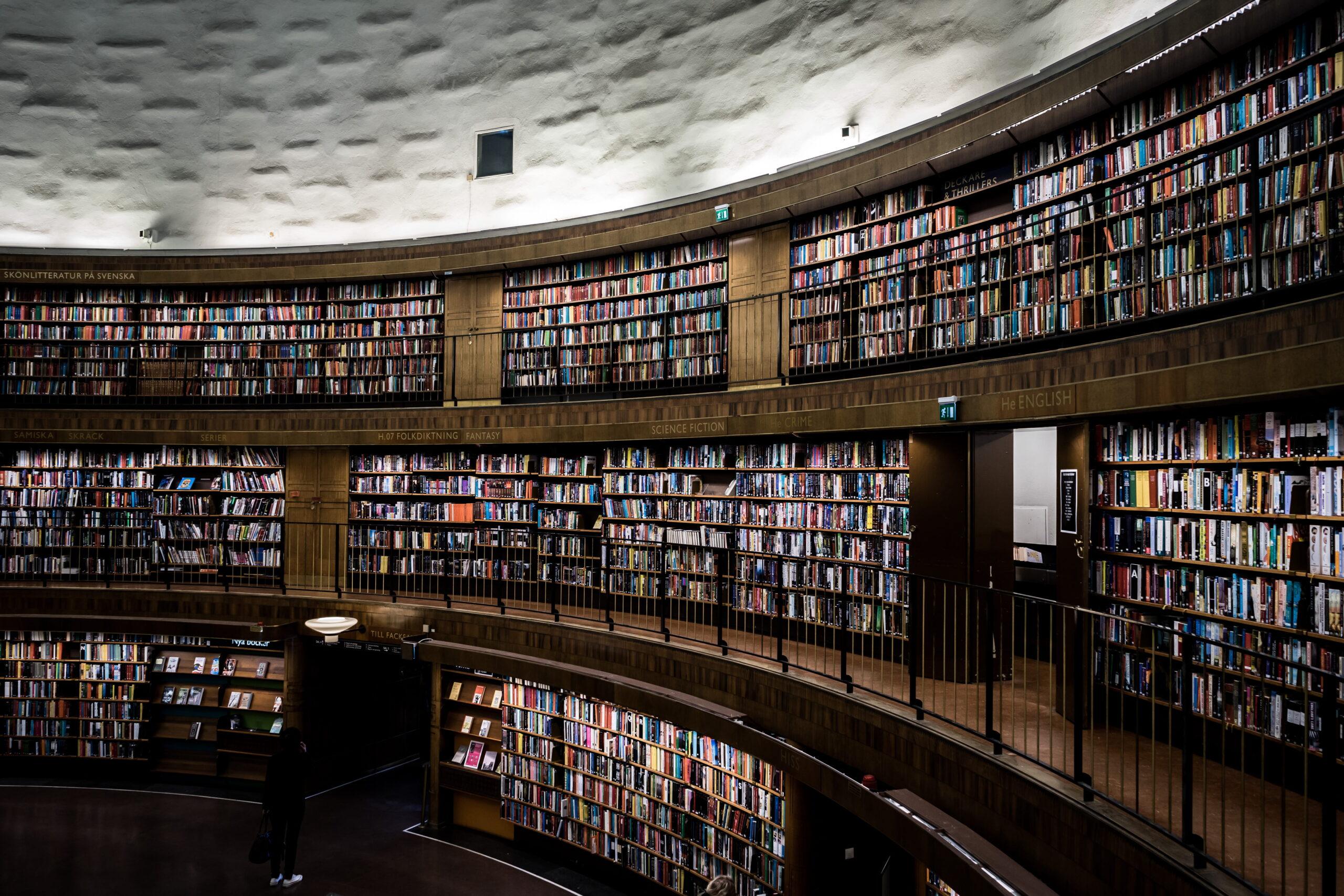 Biblioteca Pública de Estocolmo circular. Imagem ilustrativa texto bibliotecas mais bonitas do mundo.