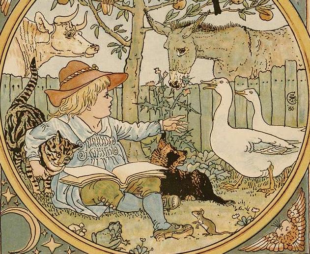 Criança lendo, com gato, boi, burro, cachorro, sapo, pato e rato. Imagem ilustrativa texto história das fábulas.